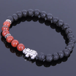 6mm Red Jasper & Lava Rock Healing Stone Bracelet with Tibetan Silver Protection Elephant & Spacers - Handmade by Gem and Silver TSB047