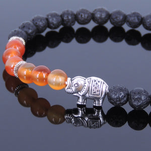 6mm Red Carnelian & Lava Rock Healing Stone Bracelet with Tibetan Silver Protection Elephant & Spacers - Handmade by Gem and Silver TSB049