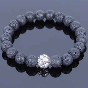 8mm Lava Rock Healing Stone Bracelet with Tibetan Silver Lotus Bead - Handmade by Gem & Silver TSB019