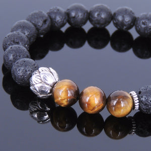 8mm Brown Tiger Eye & Lava Rock Healing Stone Bracelet with Tibetan Silver Lotus Bead & Spacers - Handmade by Gem & Silver TSB022