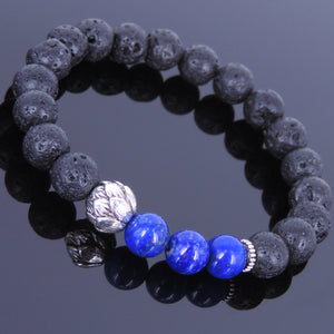 8mm Lapis Lazuli & Lava Rock Healing Stone Bracelet with Tibetan Silver Lotus Bead & Spacers - Handmade by Gem & Silver TSB024