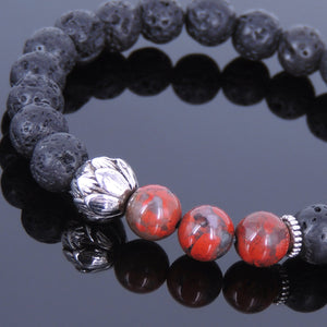 8mm Red Jasper Stone & Lava Rock Healing Stone Bracelet with Tibetan Silver Lotus Bead & Spacers - Handmade by Gem & Silver TSB025