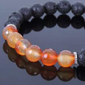 Faceted Red Carnelian & Lava Rock Healing Gemstone Bracelet with Tibetan Silver Spacers - Handmade by Gem and Silver TSB034