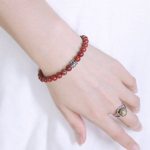6mm Red Jasper Healing Stone Bracelet with S925 Sterling Silver Fleur de Lis Barrel Bead & Clasp - Handmade by Gem & Silver BR463