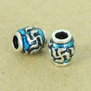 4 PCS Hand-painted Mantra Buddhism Barrel Beads - S925 Sterling Silver WSP320X4
