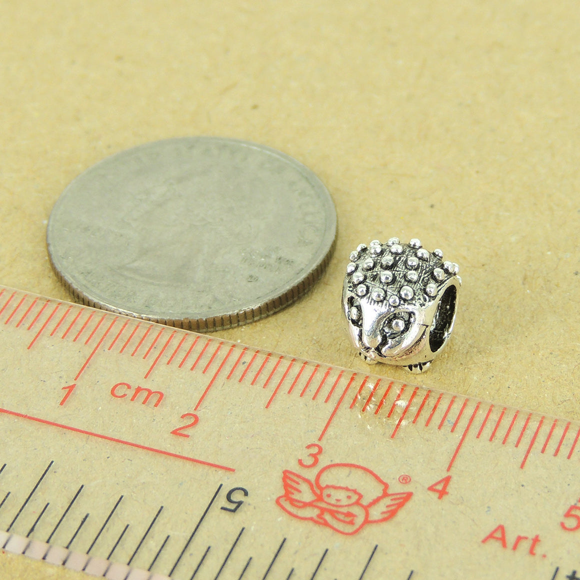 1 PC Cute Hedgehog Charm - Genuine S925 Sterling Silver