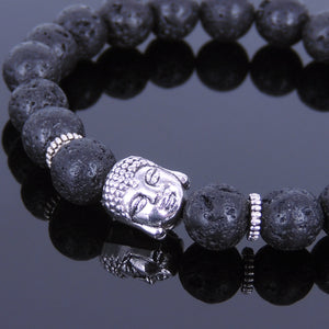 8mm Lava Rock Healing Stone Bracelet with Tibetan Silver Guanyin Buddha & Spacers - Handmade by Gem & Silver TSB057