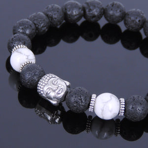 8mm White Howlite & Lava Rock Healing Stone Bracelet with Tibetan Silver Guanyin Buddha & Spacers - Handmade by Gem & Silver TSB063