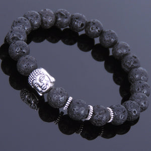 8mm Lava Rock Healing Stone Bracelet with Tibetan Silver Guanyin Buddha Bead & Spacers - Handmade by Gem & Silver TSB058
