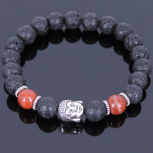 8mm Red Jasper & Lava Rock Healing Stone Bracelet with Tibetan Silver Guanyin Buddha & Spacers - Handmade by Gem & Silver TSB061