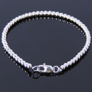 Genuine S925 Sterling Silver Bracelet with 3mm Beads & Clasp - Handmade by Gem & Silver BR471