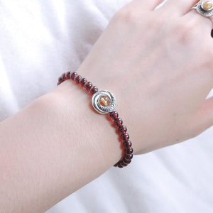 Citrine Quartz & Grade AAA Garnet Healing Gemstone Bracelet with S925 Sterling Silver Snake Tail Donut Charm - Handmade by Gem & Silver BR475