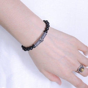 6mm Rainbow Black Obisidian Healing Gemstone Bracelet with S925 Sterling Silver Vintage Cross Charm - Handmade by Gem & Silver BR479