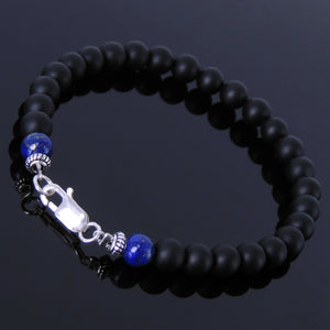 6mm Matte Black Onyx & Lapis Lazuli Healing Gemstone Bracelet with S925 Sterling Silver Spacer Beads & Clasp - Handmade by Gem & Silver BR191