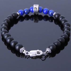 6mm Matte Black Onyx & Lapis Lazuli Healing Gemstone Bracelet with S925 Sterling Silver Gothic Protection Charm & Clasp - Handmade by Gem & Silver BR491
