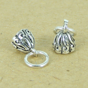 2 PCS Vintage Lotus Seedpod Charm Pendants - S925 Sterling Silver WSP329X2