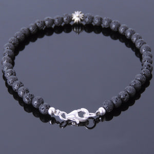 4mm Lava Rock Healing Stone Bracelet with S925 Sterling Silver Star Cross & Clasp - Handmade by Gem & Silver BR490