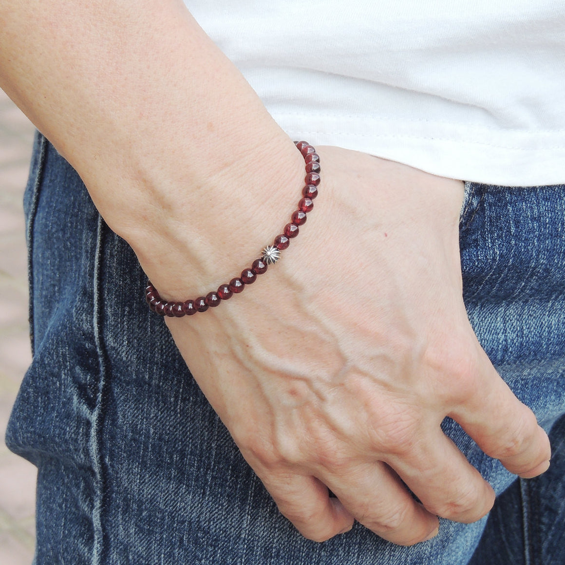 4mm Grade AAA Garnet Healing Gemstone Bracelet with S925 Sterling Silver Cross & Clasp - Handmade by Gem & Silver BR494