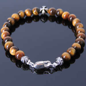 6mm Brown Tiger Eye Healing Gemstone Bracelet with S925 Sterling Silver Cross Beads, Spacers, & Clasp - Handmade by Gem & Silver BR495