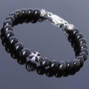 6mm Rainbow Black Obsidian Healing Gemstone Bracelet with S925 Sterling Silver Cross Beads, Spacers, & Clasp - Handmade by Gem & Silver BR497