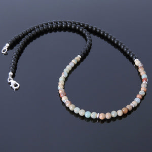 4mm Jasper & Matte Black Onyx Healing Gemstone Necklace with S925 Sterling Silver Spacer Beads & Clasp - Handmade by Gem & Silver NK018
