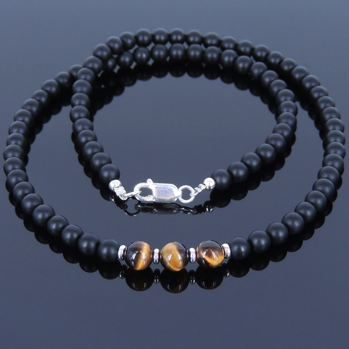 Matte Black Onyx & Brown Tiger Eye Healing Gemstone Necklace with S925 Sterling Silver Spacers & Clasp - Handmade by Gem & Silver NK029