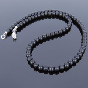 5mm Matte Black Onyx Healing Gemstone Necklace with S925 Sterling Silver Spacers & Clasp - Handmade by Gem & Silver NK030