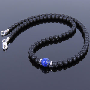 Lapis Lazuli & Matte Black Onyx Healing Gemstone Necklace with S925 Sterling Silver Spacer Beads & Clasp - Handmade by Gem & Silver NK031