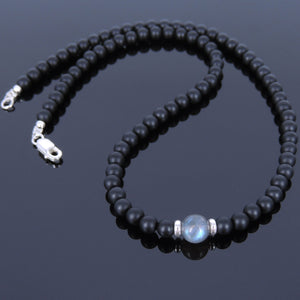 Labradorite & Matte Black Onyx Healing Gemstone Necklace with S925 Sterling Silver Spacer Beads & Clasp - Handmade by Gem & Silver NK033