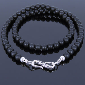 6mm Matte Black Onyx Healing Gemstone Necklace with S925 Sterling Silver Spacers & Clasp - Handmade by Gem & Silver NK034