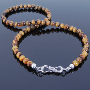 6mm Brown Tiger Eye Healing Gemstone Necklace with S925 Sterling Silver Spacers & S-Hook Clasp - Handmade by Gem & Silver NK035