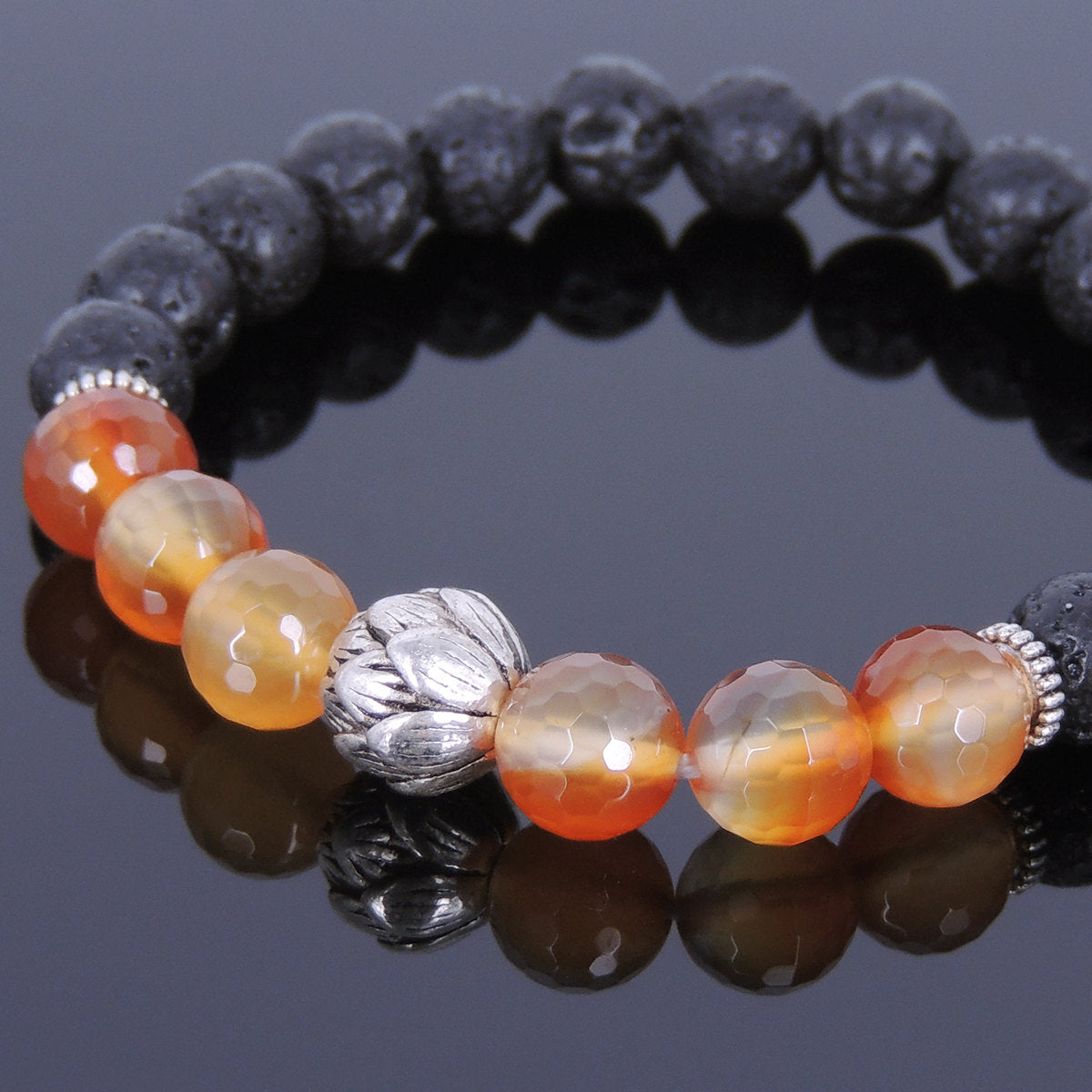 8mm Faceted Red Carnelian & Lava Rock Healing Gemstone Bracelet with Tibetan Silver Lotus Bead & Spacers - Handmade by Gem & Silver TSB075