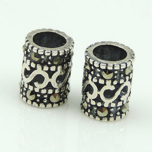 2 PCS Vintage Celtic Marcasite Barrel Beads - S925 Sterling Silver WSP167X2