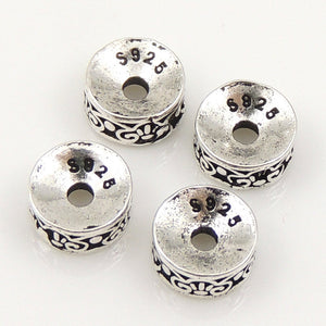 6 PCS Vintage Art Deco Design Spacers - S925 Sterling Silver WSP162X6
