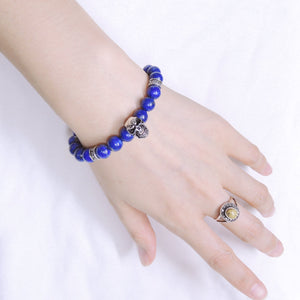 8mm Lapis Lazuli Healing Gemstone Bracelet with S925 Sterling Silver Skull Charm & Celtic Cross Spacers - Handmade by Gem & Silver BR507