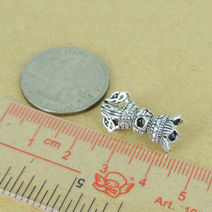 2 PCS Vintage Lotus Prayer Instrument Charms - S925 Sterling Silver WSP339X2