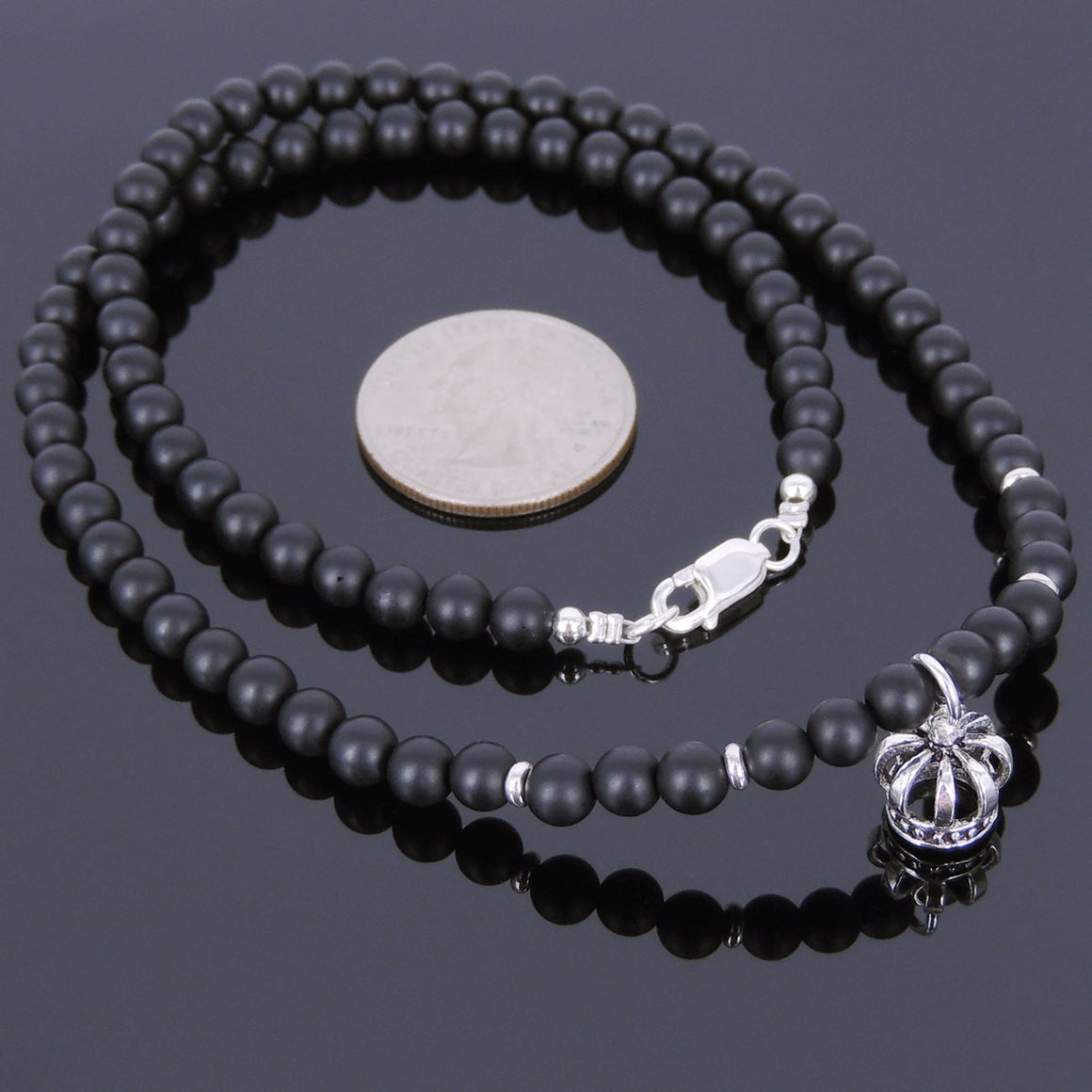 5mm Matte Black Onyx Healing Gemstone Necklace with S925 Sterling Silver Crown Pendant & Clasp - Handmade by Gem & Silver NK040