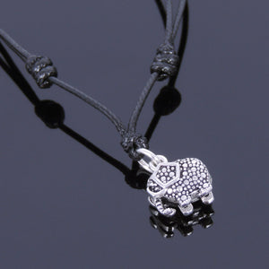 Adjustable Wax Rope Necklace with S925 Sterling Silver Vintage Elephant Protection Pendant - Handmade by Gem & Silver NK044