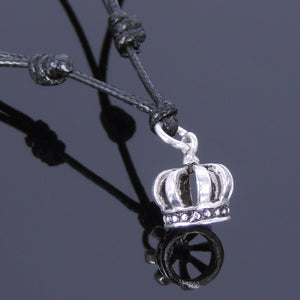 Adjustable Wax Rope Necklace with S925 Sterling Silver Royal Crown Pendant - Handmade by Gem & Silver NK046
