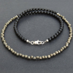 4mm Matte Black Onyx & Faceted Gold Pyrite Healing Gemstone Necklace with S925 Sterling Silver Spacers & Clasp - Handmade by Gem & Silver NK047