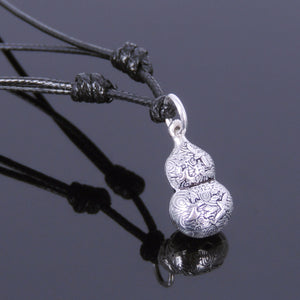 Adjustable Wax Rope Necklace with S925 Sterling Silver Good Luck Calabash Gourd Pendant - Handmade by Gem & Silver NK042