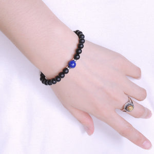 Lapis Lazuli & Matte Black Onyx Healing Gemstone Bracelet with S925 Sterling Silver Spacers - Handmade by Gem & Silver BR516