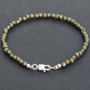 4mm Faceted Gold Pyrite Healing Gemstone Bracelet with S925 Sterling Silver Spacer Beads & Clasp - Handmade by Gem & Silver BR517