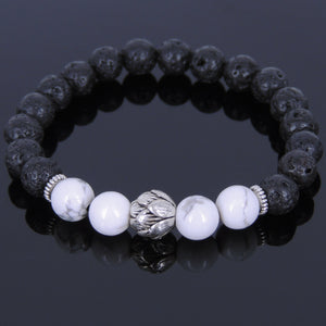 8mm White Howlite & Lava Rock Healing Gemstone Bracelet with Tibetan Silver Lotus Bead & Spacers - Handmade by Gem & Silver TSB084