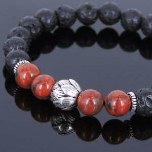 8mm Red Jasper Stone & Lava Rock Healing Gemstone Bracelet with Tibetan Silver Lotus Bead & Spacers - Handmade by Gem & Silver TSB083