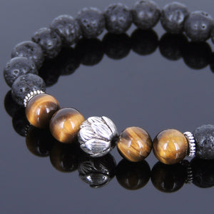 8mm Brown Tiger Eye & Lava Rock Healing Gemstone Bracelet with Tibetan Silver Lotus Bead & Spacers - Handmade by Gem & Silver TSB081