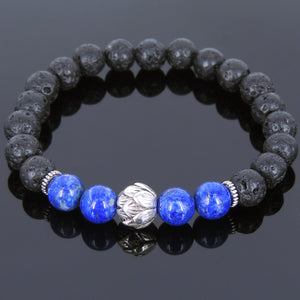 8mm Lapis Lazuli & Lava Rock Healing Stone Bracelet with Tibetan Silver Lotus Bead & Spacers - Handmade by Gem & Silver TSB082
