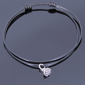 Adjustable Wax Rope Anklet with S925 Sterling Silver Lotus Seedpod Pendant - Handmade by Gem & Silver AN021
