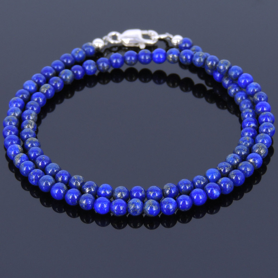 3.5mm Lapis Lazuli Double-Wrap Healing Gemstone Bracelet with S925 Sterling Silver Spacer Beads & Clasp - Handmade by Gem & Silver BR518