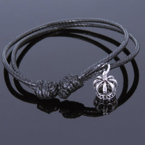 Adjustable Wax Rope Bracelet with S925 Sterling Silver Vintage Crown Pendant - Handmade by Gem & Silver BR526